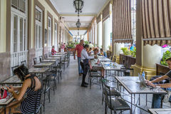Sidewalk café at the Hotel Inglaterra, Havana, Cuba Royalty Free Stock Image