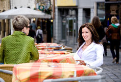 At a sidewalk cafe Stock Photo