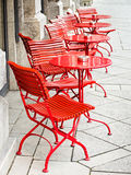 Sidewalk cafe. Tables and chairs at a sidewalk cafe in rome - italy Royalty Free Stock Images