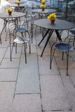 Sidewalk cafe. With flowers on tables Royalty Free Stock Images