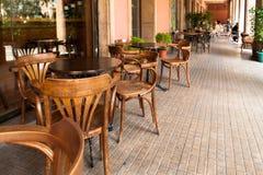 Sidewalk Cafe Barcelona Spain. Quiet Sidewalk Cafe Barcelona Spain Stock Image