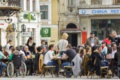 Sidewalk cafe in Brasov, Romania Stock Photos