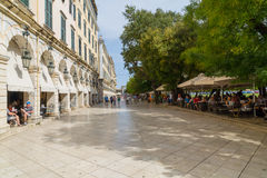 Sidewalk Cafe in Corfu stock photography