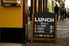 Sidewalk cafe menu Royalty Free Stock Image