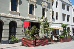 Sidewalk Cafe with Planters Royalty Free Stock Photography