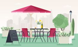 Sidewalk cafe or restaurant with table, chairs, umbrella, potted plants and welcome board standing on street against. City buildings on background. Colored stock illustration