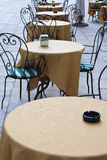 Sidewalk cafe tables Stock Photo