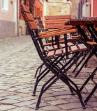 Sidewalk Cafe Tables. Early Morning Sidewalk Cafe Tables Royalty Free Stock Photography
