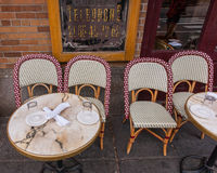 Sidewalk cafe tables Stock Photography