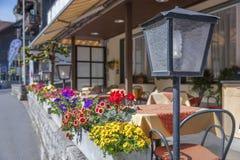 Sidewalk cafe. Terrace in Swiss Stock Photo
