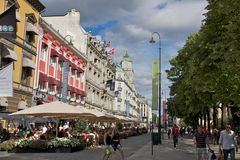 Sidewalk Cafes in Oslo Royalty Free Stock Photography