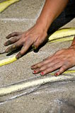 Sidewalk chalk artist Royalty Free Stock Image