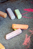 Sidewalk chalk Stock Images