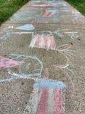 Sidewalk Chalk Drawings royalty free stock image