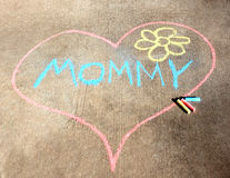 Sidewalk Chalk Heart for Mom Stock Photography