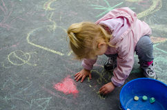 Sidewalk chalk painting Royalty Free Stock Image