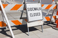 Sidewalk Close Sign. Sidewalk is close due to construction Royalty Free Stock Photography