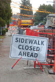 Sidewalk Closed Ahead Sign Royalty Free Stock Photo