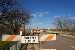 Sidewalk Closed for Bridge Repairs Royalty Free Stock Photos