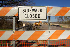 Sidewalk Closed for Bridge Repairs Stock Photo