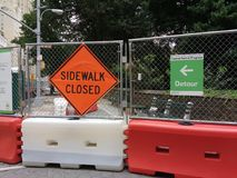 Detour, Sidewalk Closed, Central Park, NYC, NY, USA Stock Photography