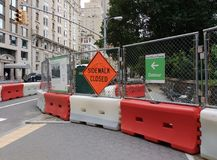 Sidewalk Closed, Central Park, NYC, NY, USA Royalty Free Stock Images