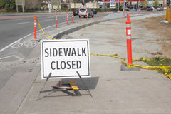 Sidewalk Closed and City Construction Royalty Free Stock Image
