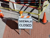 Sidewalk closed construction sign Stock Photos
