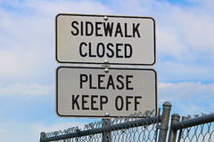 Sidewalk closed, Please keep off signs Royalty Free Stock Photography
