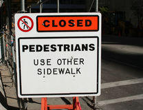 Sidewalk closed sign Stock Photography