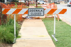 Sidewalk closed sign Royalty Free Stock Photos