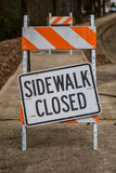 Sidewalk Closed Sign Askew on Stand Full Frame Stock Photo