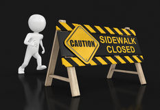 Sidewalk closed sign and man Stock Image