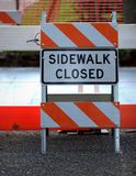 Sidewalk Closed Sign Royalty Free Stock Photo