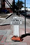 Sidewalk closed sign Royalty Free Stock Photography