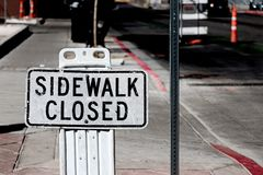 Sidewalk closed sign Stock Photos