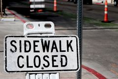 Sidewalk closed sign Royalty Free Stock Images