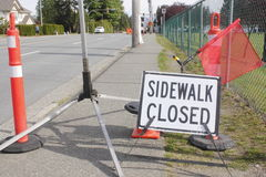 Sidewalk Closed sign Royalty Free Stock Image