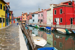 Sidewalk in colourful Burano, Italy. Royalty Free Stock Photos