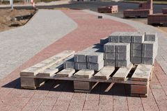Sidewalk construction bricks Stock Photos