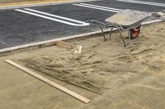 Sidewalk construction site preparations tools Stock Image