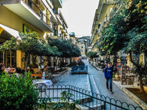 Sidewalk in Corfu. In the center of old town of Corfu Royalty Free Stock Images