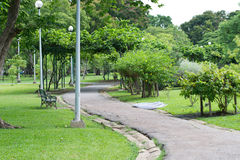 A sidewalk in a daylight garden. A devious Sidewalk in the middle of a public garden . It is a way for the runners to run in the evening Royalty Free Stock Photos