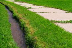 Sidewalk and ditch in grass. An overgrown sidewalk runs through the grass alongside a tiny ditch or irrigation canal full of running water Royalty Free Stock Images