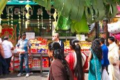 Sidewalk during Ganesh Chaturthi Festival Paris. Open stores during Ganesh Chaturthi Festival, rue du Faubourg Saint-Denis, Paris, France. September 1, 2013 Royalty Free Stock Image