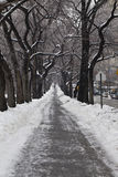 Sidewalk after ive storm stock photos