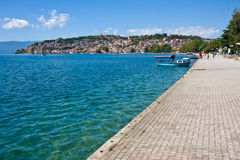 Sidewalk by Lake Ohrid royalty free stock images