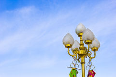 Sidewalk lamp in blue sky,Thai style Stock Images