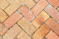 Sidewalk Made of Old Bricks Stock Photo