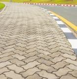 Sidewalk made with zigzag concrete Stock Image